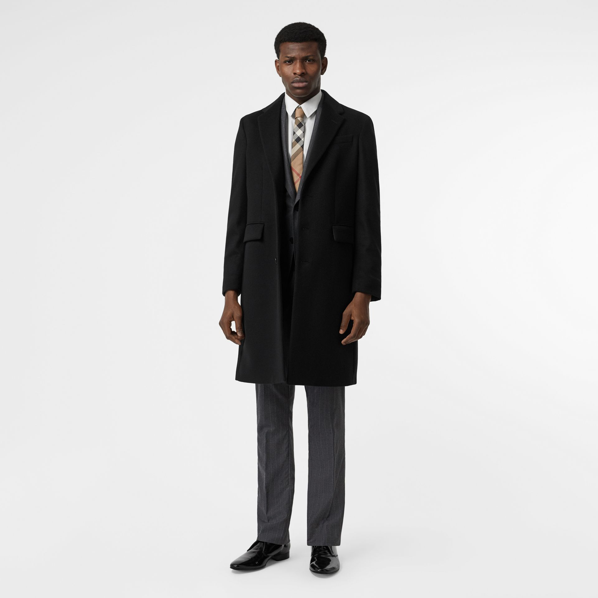 Wool Cashmere Tailored Coat in Black - Men | Burberry Australia - gallery image 0