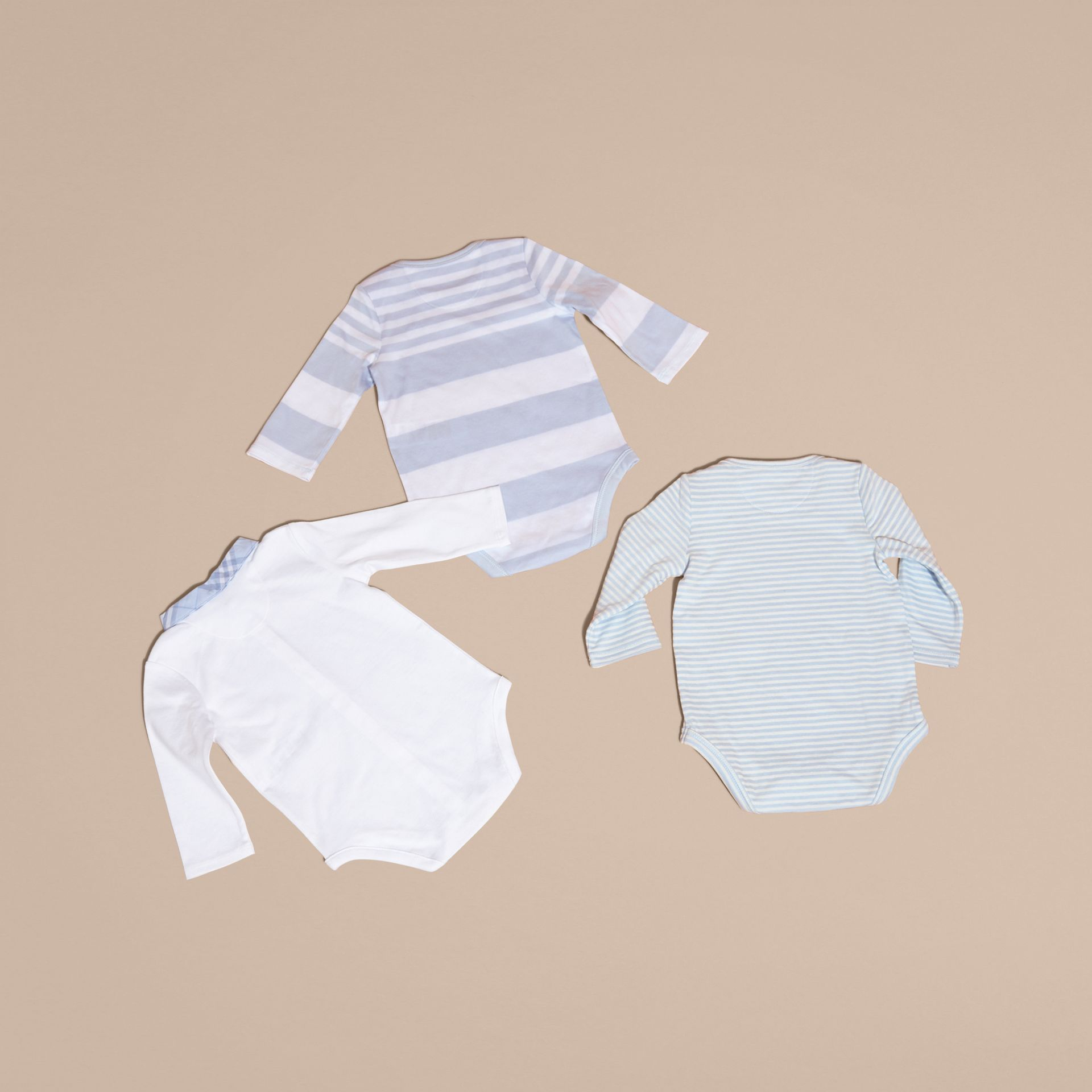 Cotton-Blend Three-piece Baby Gift Set in Ice Blue - Children | Burberry - gallery image 3
