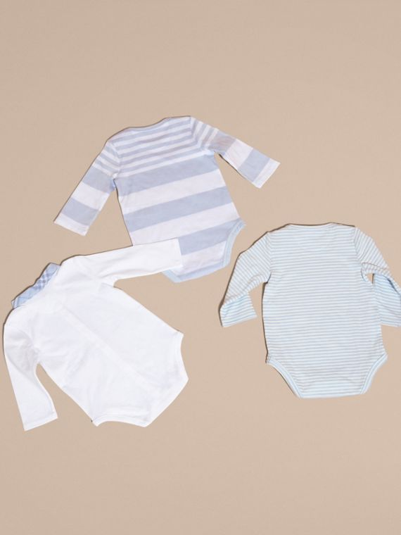 Cotton-Blend Three-piece Baby Gift Set in Ice Blue - Children | Burberry - cell image 2