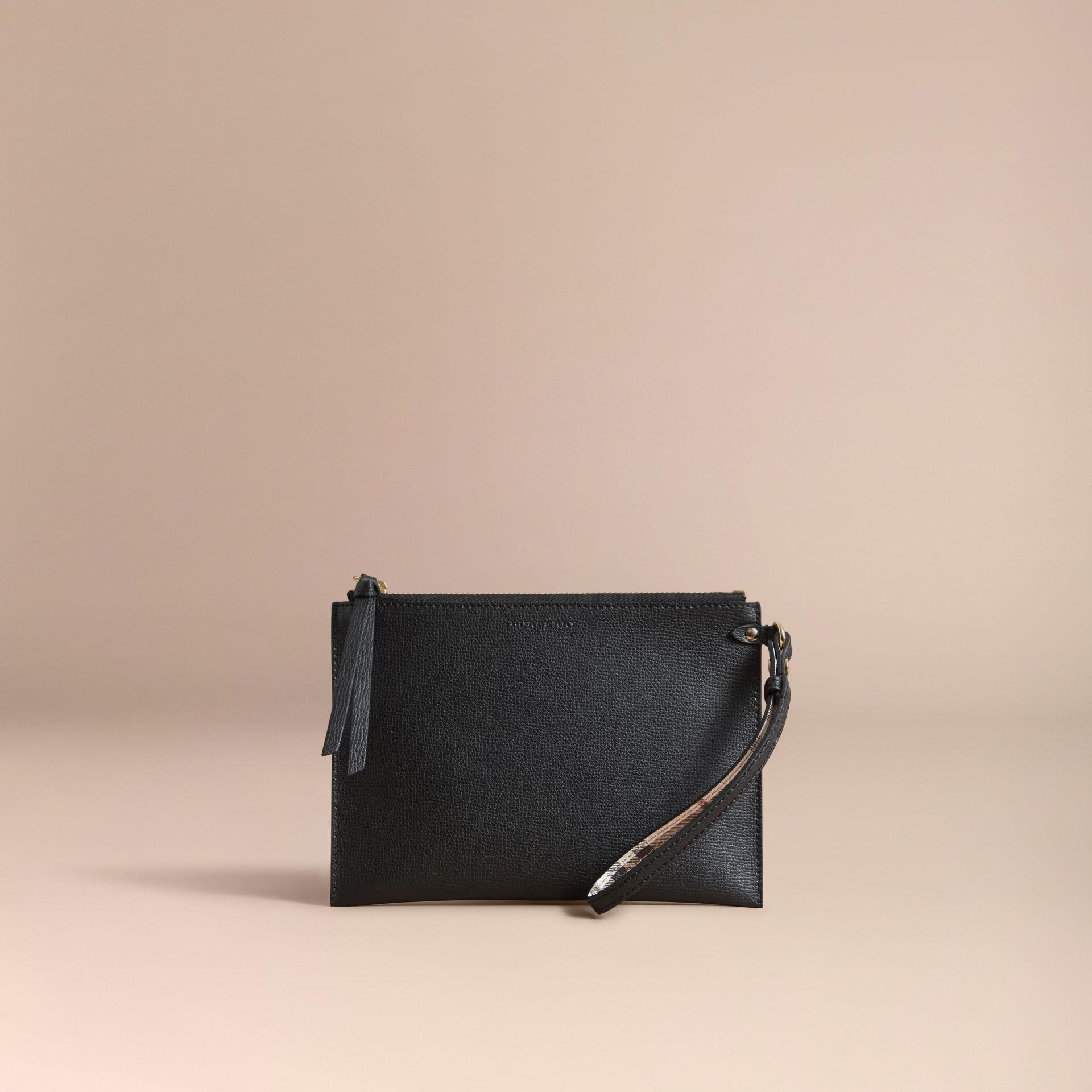 Haymarket Check and Leather Pouch in Black - Women | Burberry Australia - gallery image 6