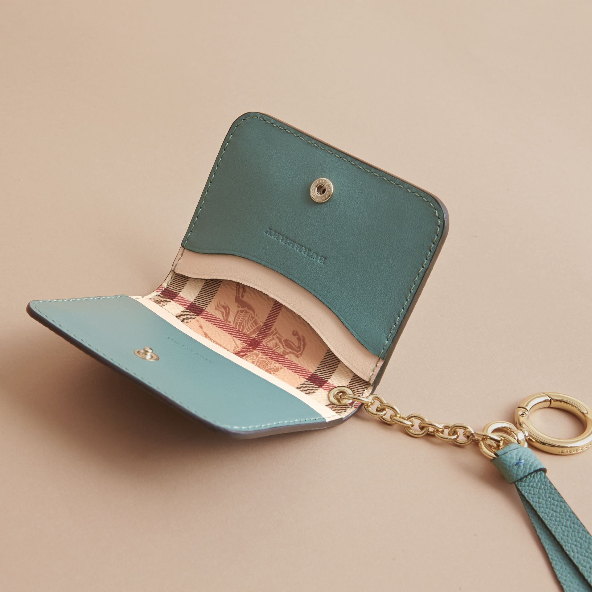 Leather and Haymarket Check ID Card Case Charm in Steel Blue/multi - Women | Burberry - gallery image 5