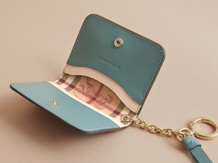 Leather and Haymarket Check ID Card Case Charm in Steel Blue/multi - Women | Burberry - cell image 4