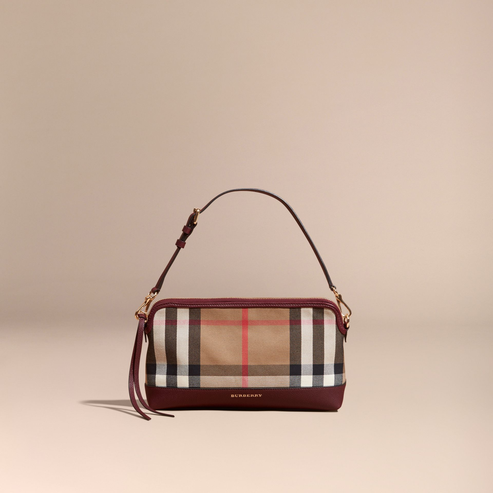 House Check and Leather Clutch Bag in Mahogany Red - gallery image 8