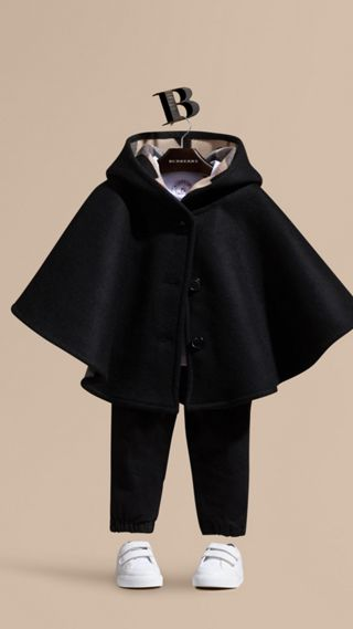 Hooded Wool A-line Cape