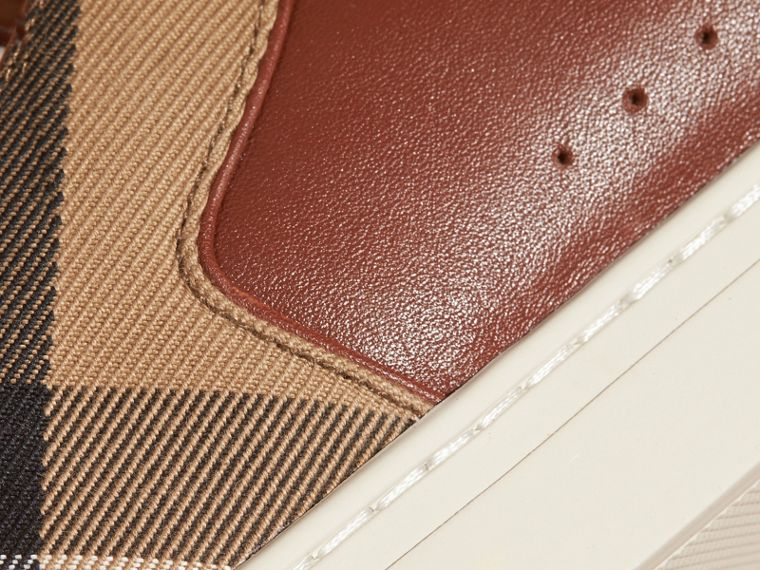 Leather and House Check Trainers in Check/bright Camel - cell image 1
