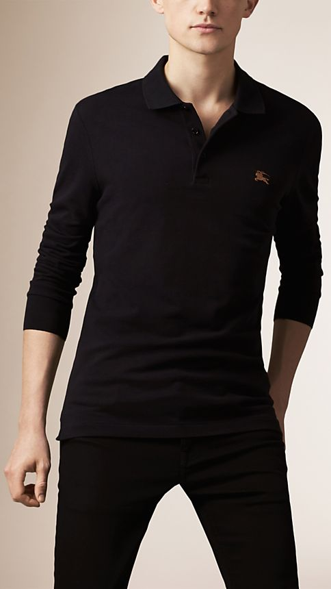 Black Cotton Jersey Double Dyed Polo Shirt - Image 1
