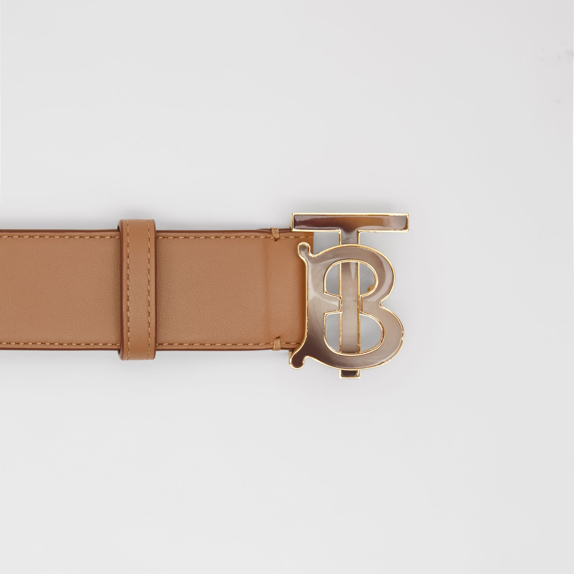 Monogram Motif Leather Belt in Light Camel - Women | Burberry United Kingdom - gallery image 1