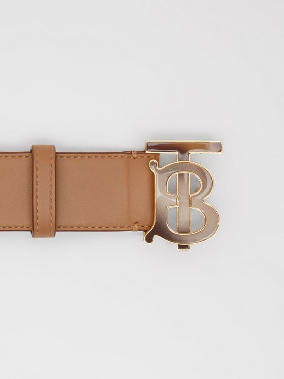 Monogram Motif Leather Belt in Light Camel - Women | Burberry - cell image 1