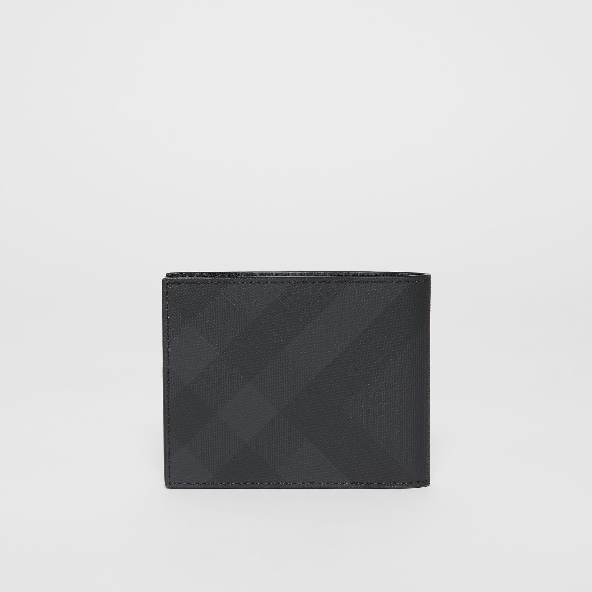 London Check and Leather Bifold Wallet in Dark Charcoal - Men | Burberry United Kingdom - gallery image 4