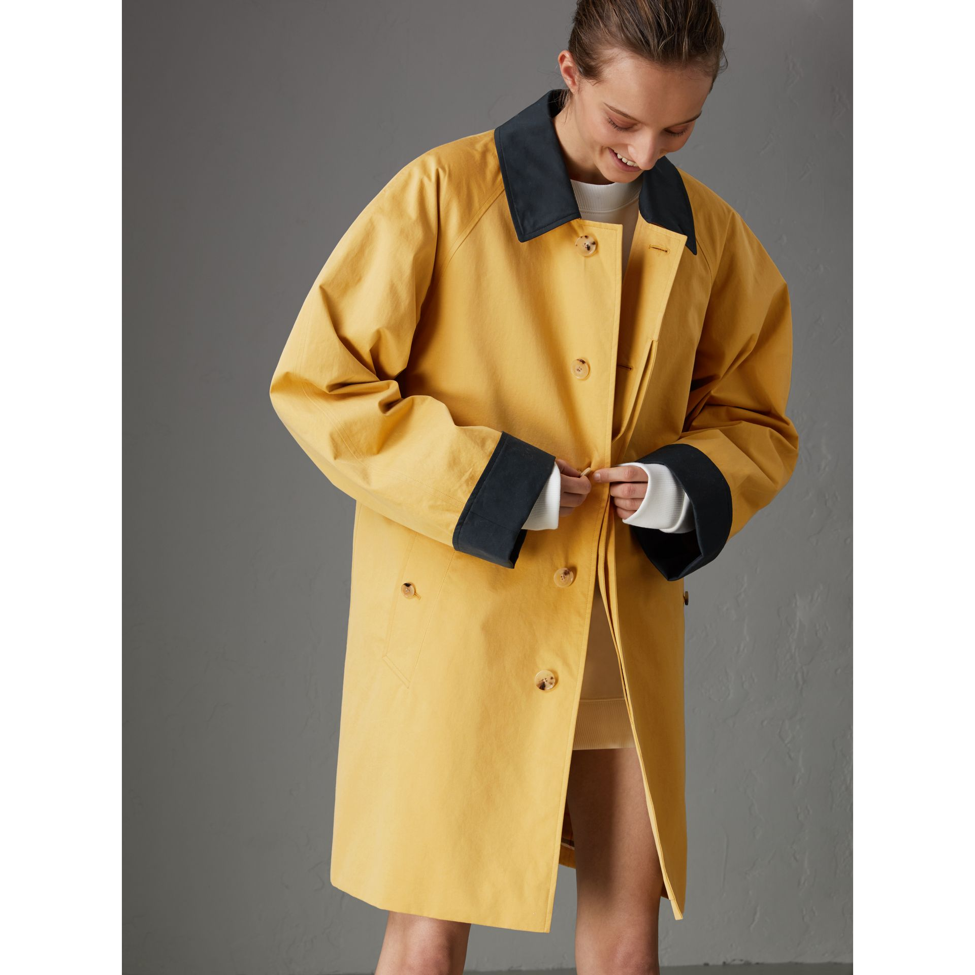 Reissued Waxed Cotton Gabardine Car Coat in Yellow - Women | Burberry United Kingdom - gallery image 6