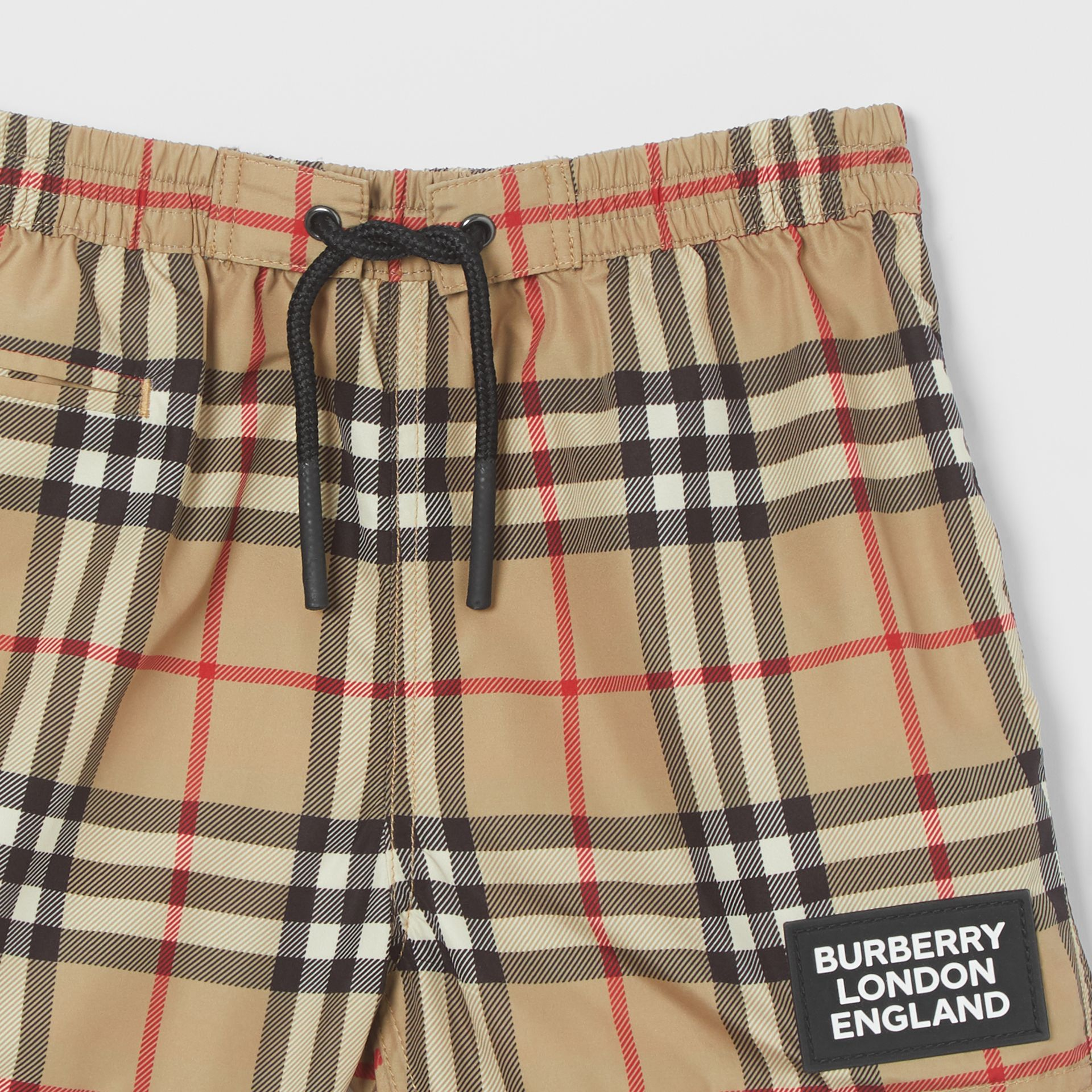 Logo Appliqué Vintage Check Swim Shorts in Archive Beige - Children | Burberry United States - gallery image 4