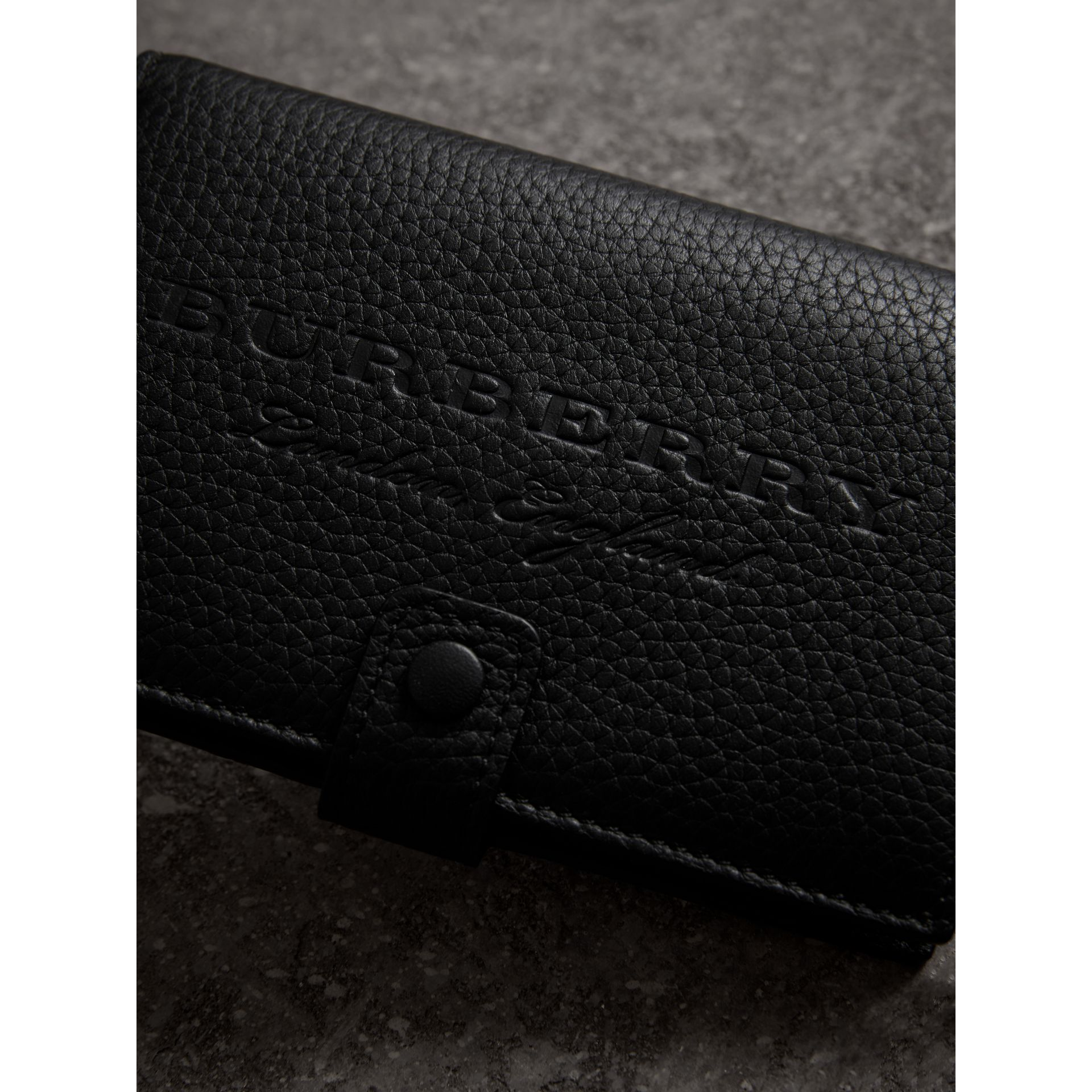 Embossed Grainy Leather Folding Wallet in Black - Women | Burberry - gallery image 1