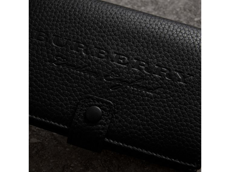 Embossed Grainy Leather Folding Wallet in Black - Women | Burberry Australia - cell image 1
