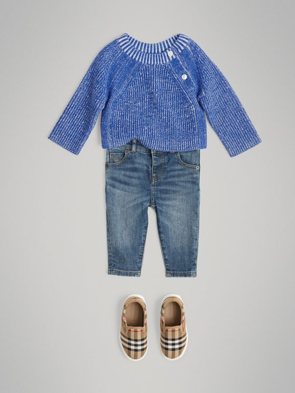 Rib Knit Merino Wool Sweater in Cerulean Blue - Children | Burberry - cell image 2
