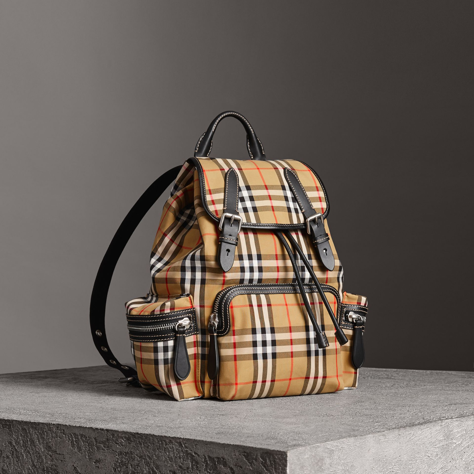 The Medium Rucksack in Vintage Check and Leather in Antique Yellow - Women | Burberry - gallery image 0
