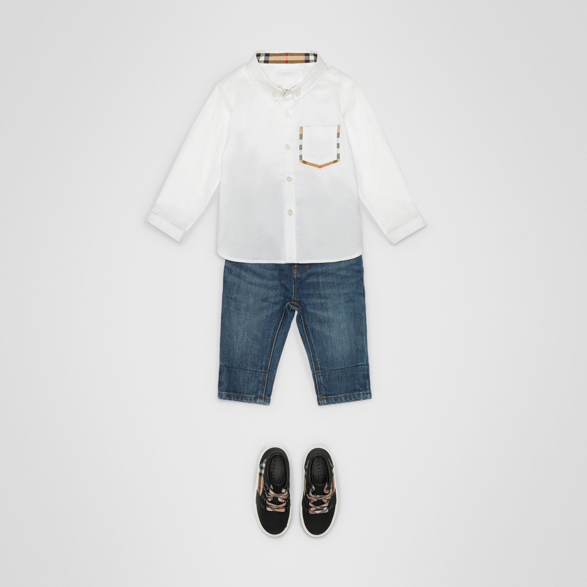 Check Detail Cotton Oxford Shirt in White - Children | Burberry Canada - gallery image 2
