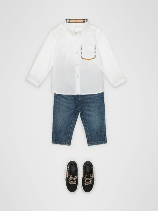 Check Detail Cotton Oxford Shirt in White - Children | Burberry Canada - cell image 2