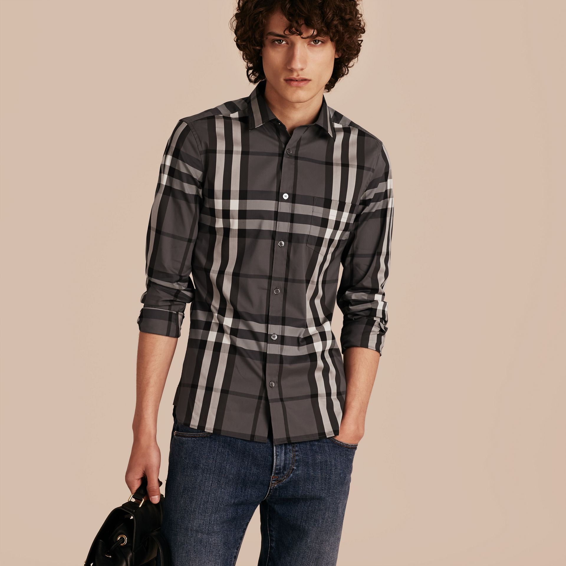 Check Stretch Cotton Shirt Charcoal - gallery image 6
