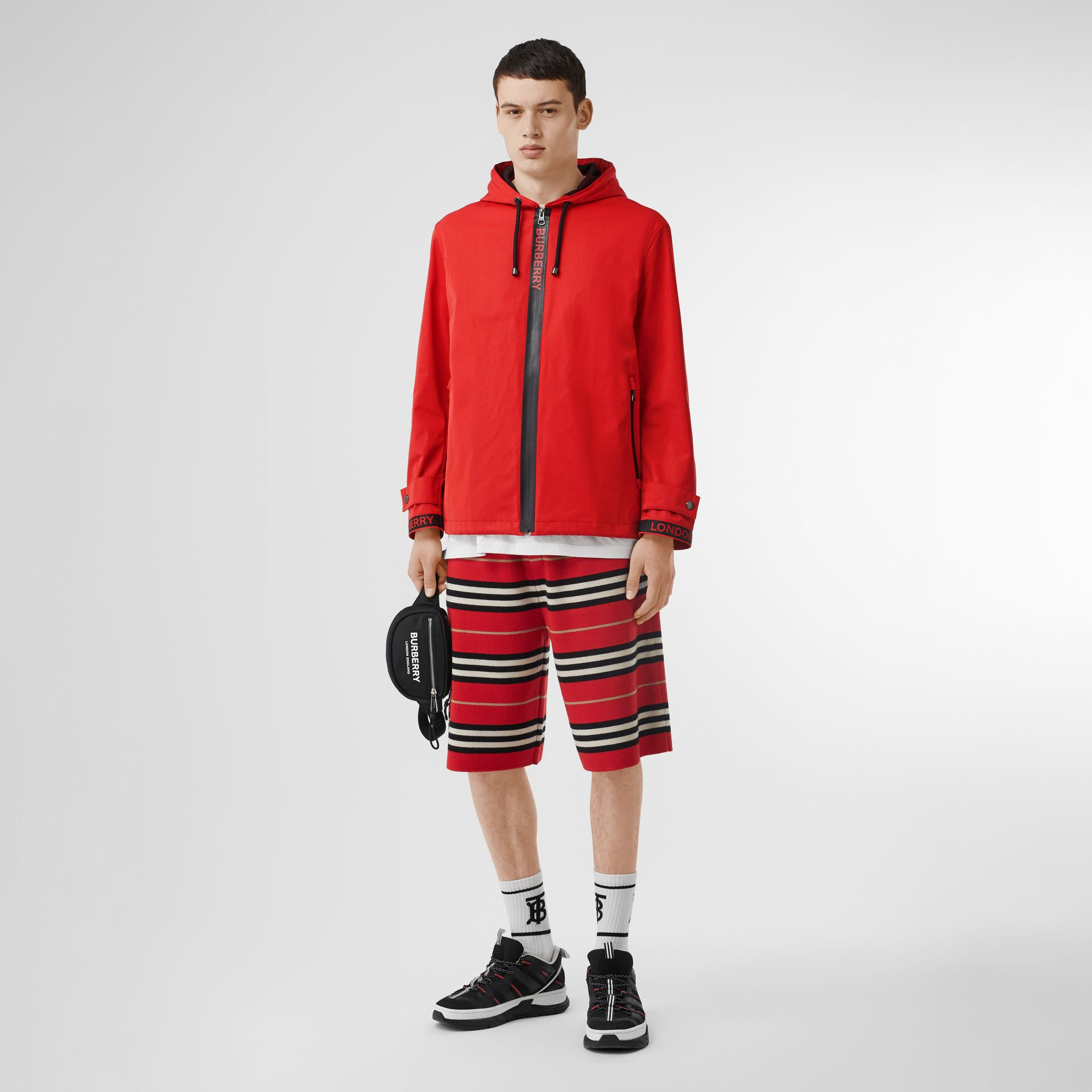 Logo Detail Nylon Cotton Twill Hooded Jacket in Bright Red - Men | Burberry Australia - gallery image 0