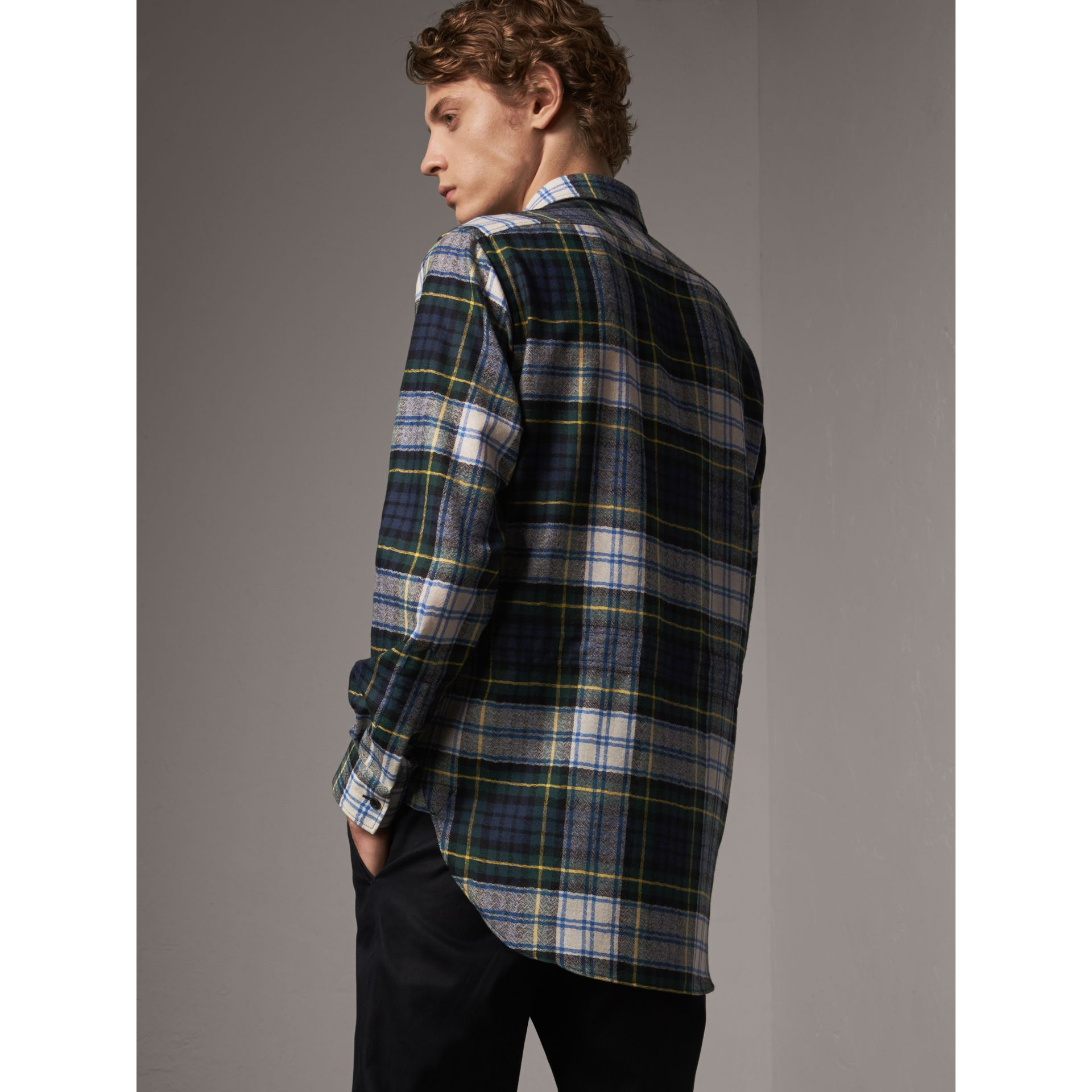 Tartan Wool Shirt in Ink Blue - Men | Burberry - gallery image 1