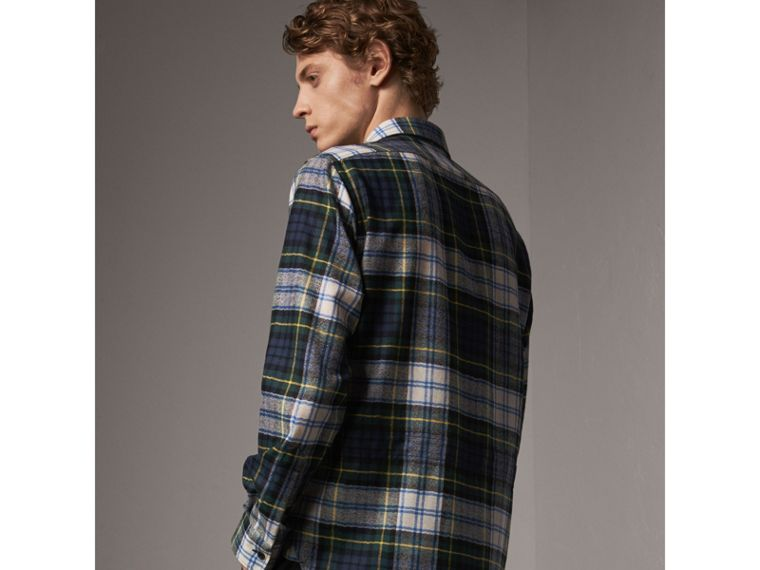 Tartan Wool Shirt in Ink Blue - Men | Burberry - cell image 1