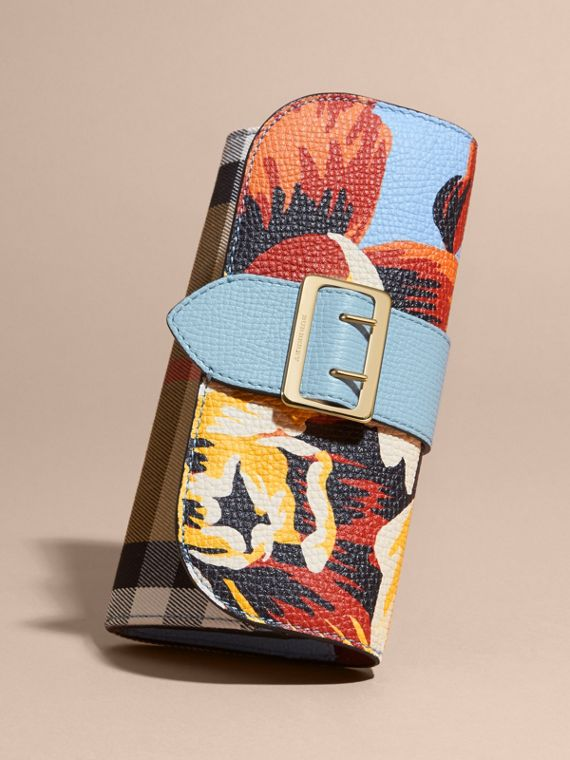 Pale blue/vibrant orange Peony Rose Print and House Check Continental Wallet Pale Blue/vibrant Orange - cell image 2