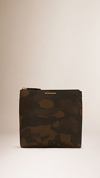 Large Camouflage Print Suede Beauty Case