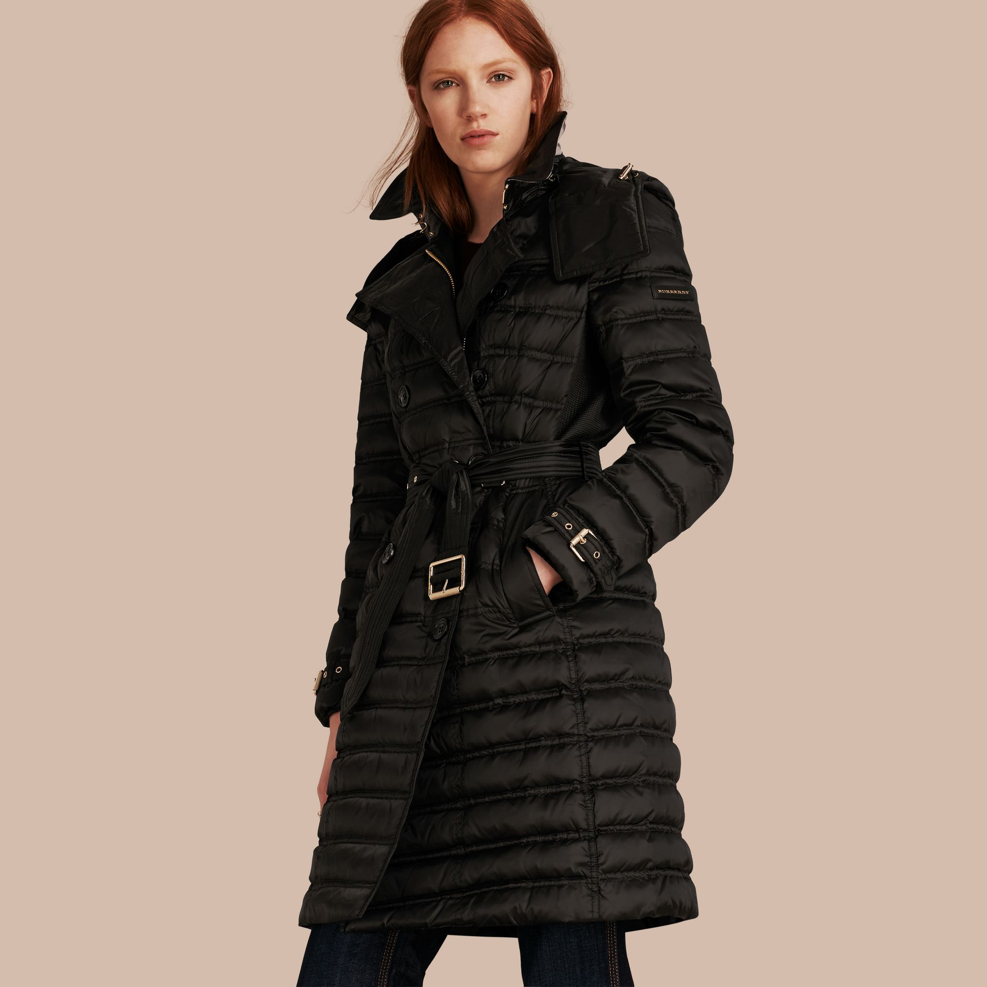 Black Down-filled Puffer Coat with Detachable Hood Black - gallery image 1