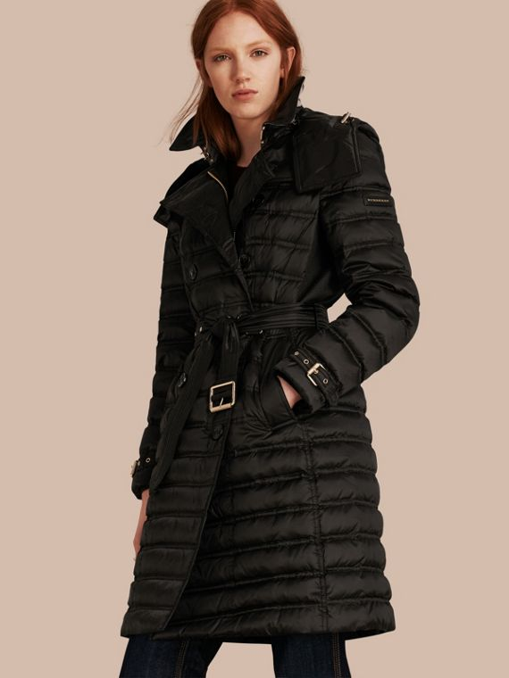 Down-filled Puffer Coat with Detachable Hood in Black