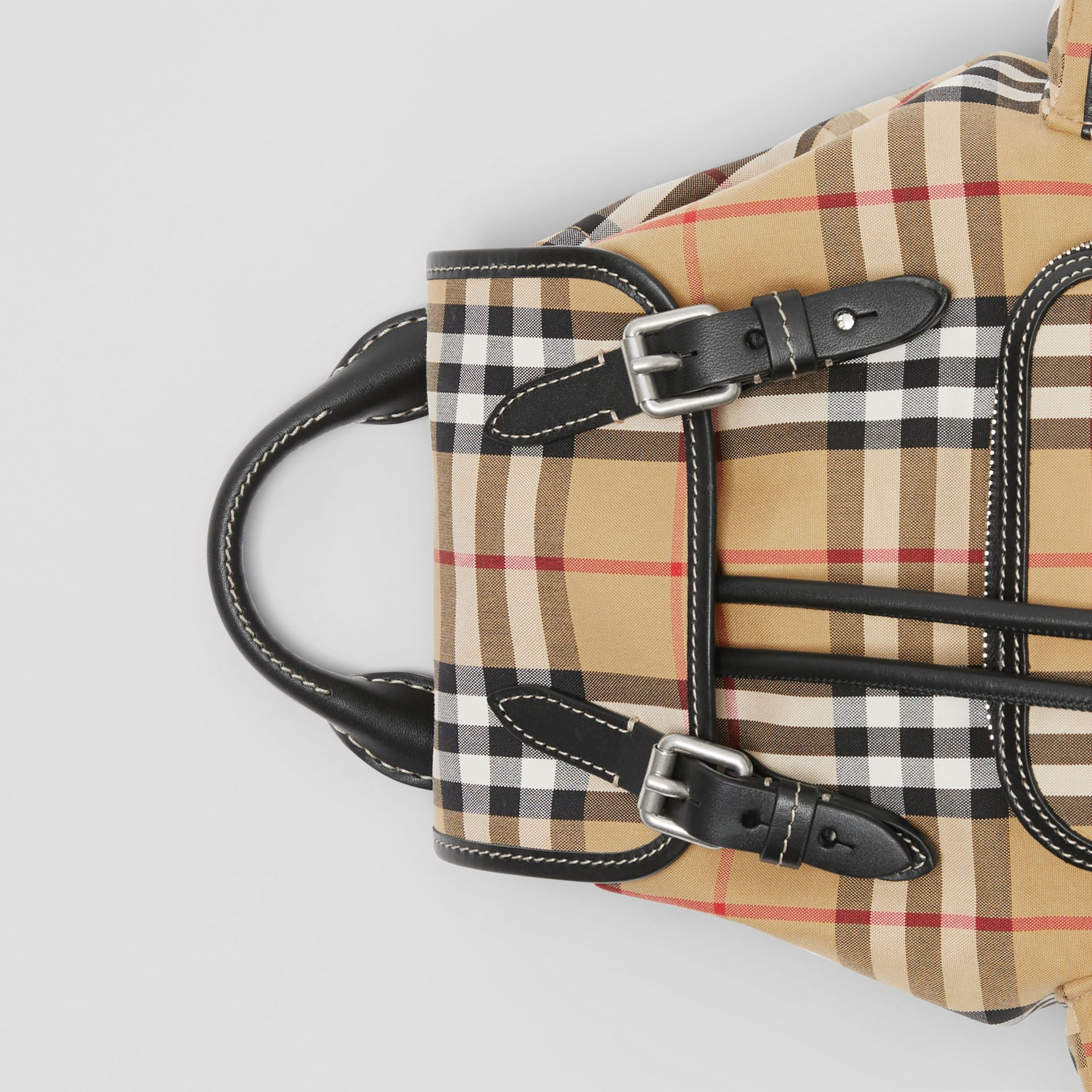 The Small Rucksack in Vintage Check and Leather in Antique Yellow - Women | Burberry Singapore - gallery image 1