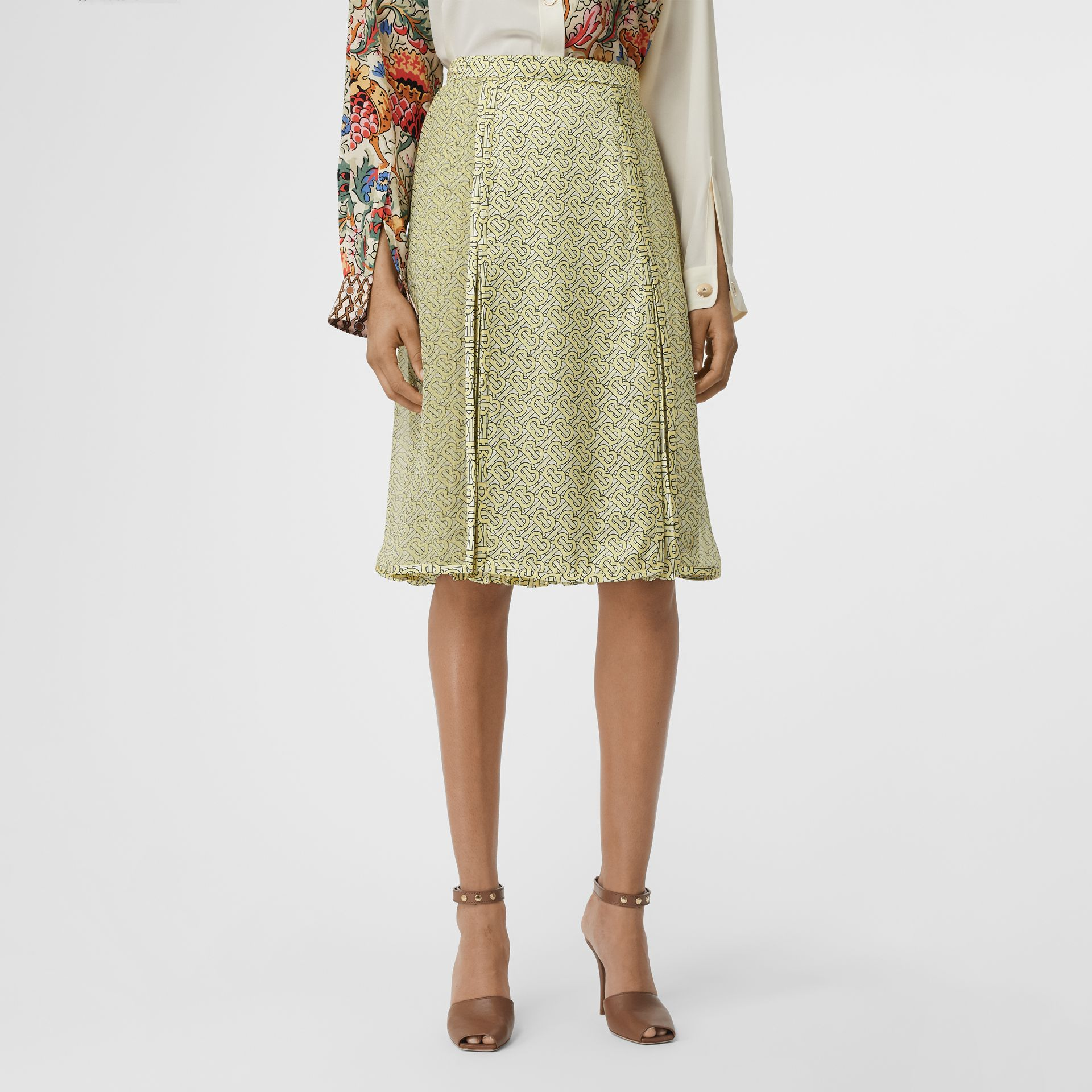 Monogram Print Silk Pleated Skirt in Pale Yellow - Women | Burberry - gallery image 4