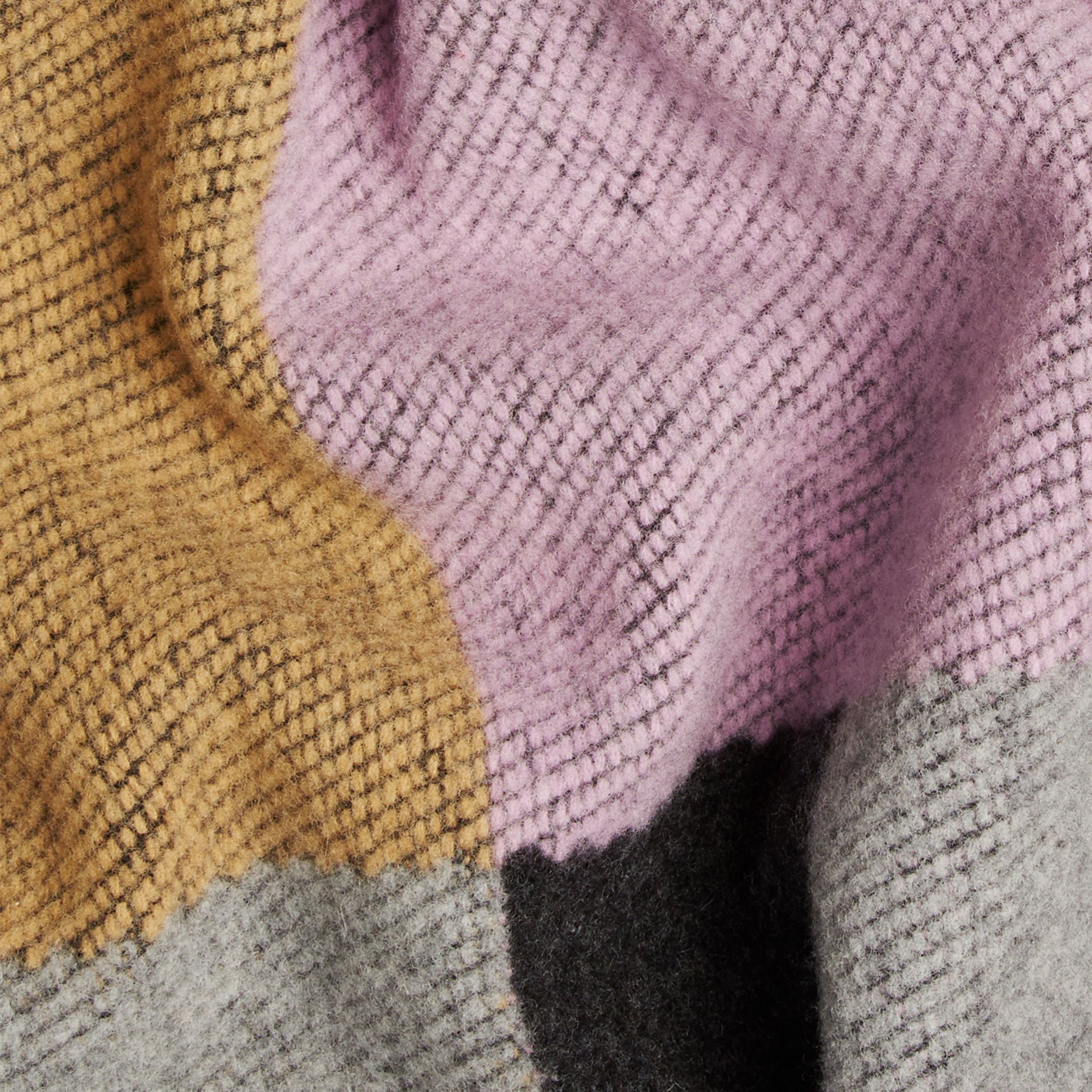 Mauve pink Check Wool and Cashmere Blanket Poncho - gallery image 2
