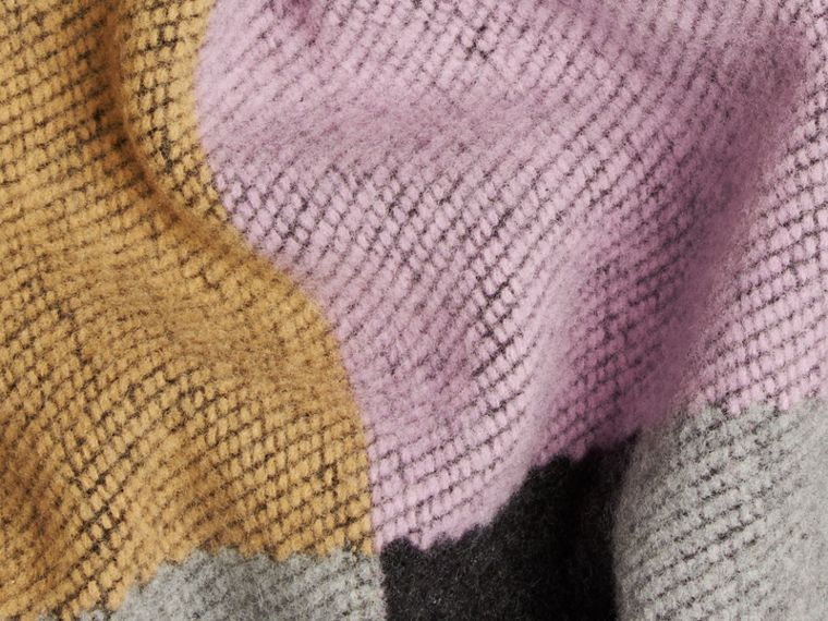 Mauve pink Check Wool and Cashmere Blanket Poncho - cell image 1