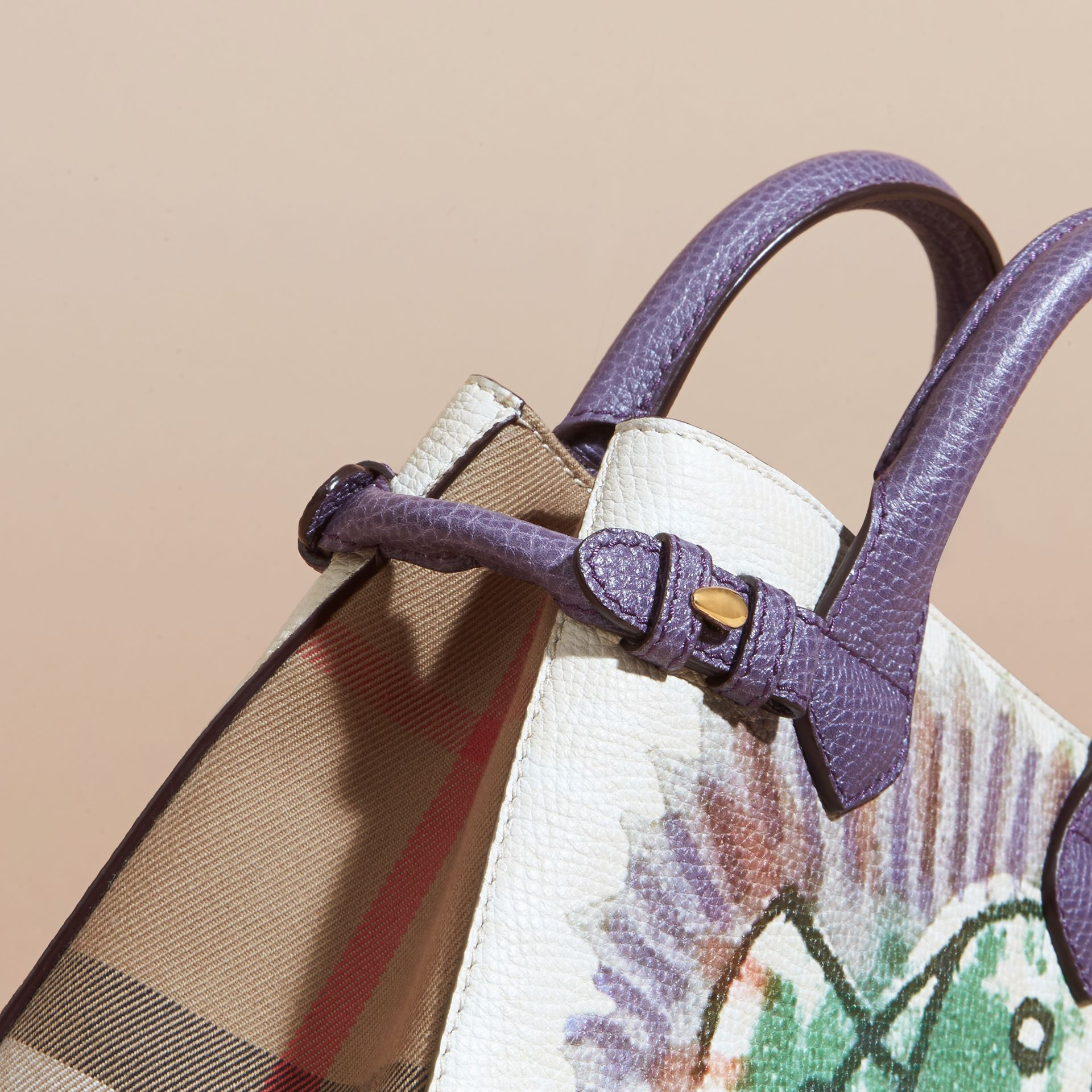 The Baby Banner in Leather with Pallas Heads Print Dusty Violet - gallery image 6