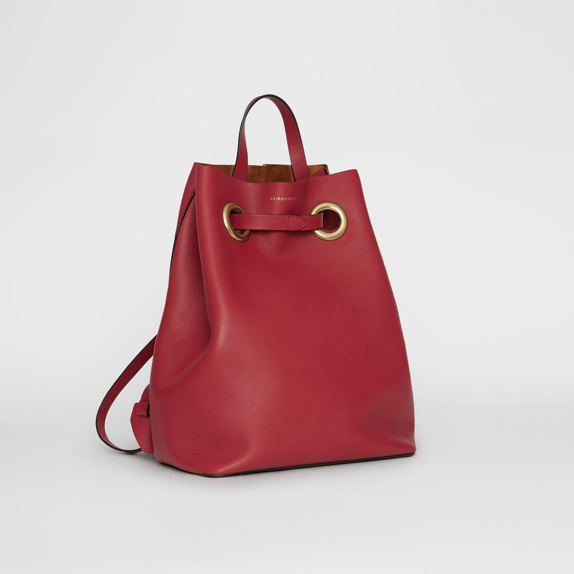 The Leather Grommet Detail Backpack in Crimson - Women | Burberry Australia - gallery image 6