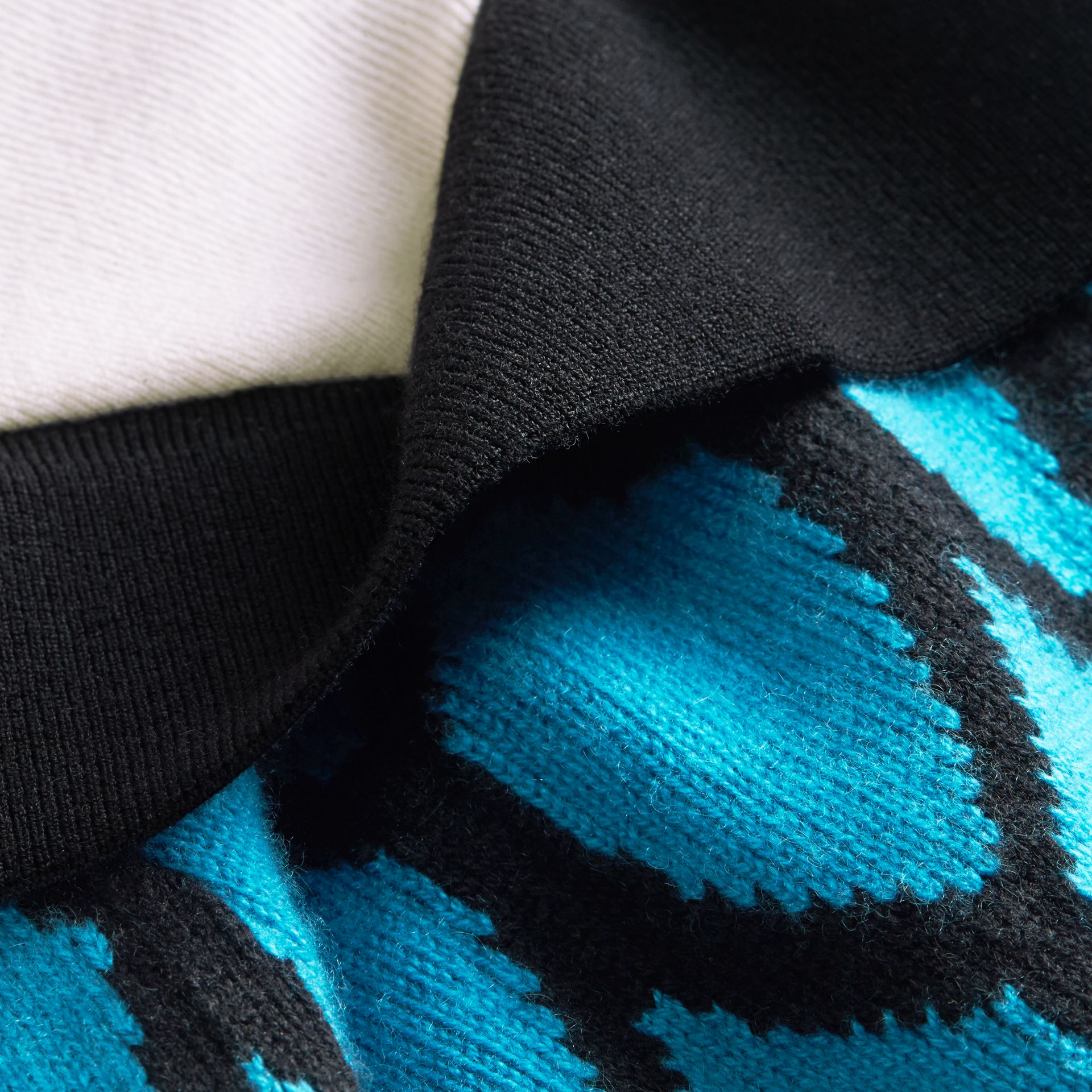 Ruffle Detail Cashmere Intarsia Sweater in Bright Cyan Blue - Men | Burberry - gallery image 2