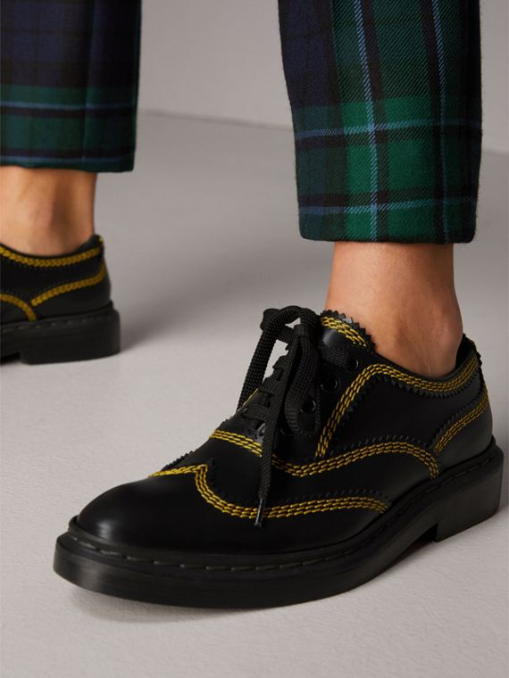 Topstitch Leather Lace-up Shoes in Black - Women | Burberry - cell image 2
