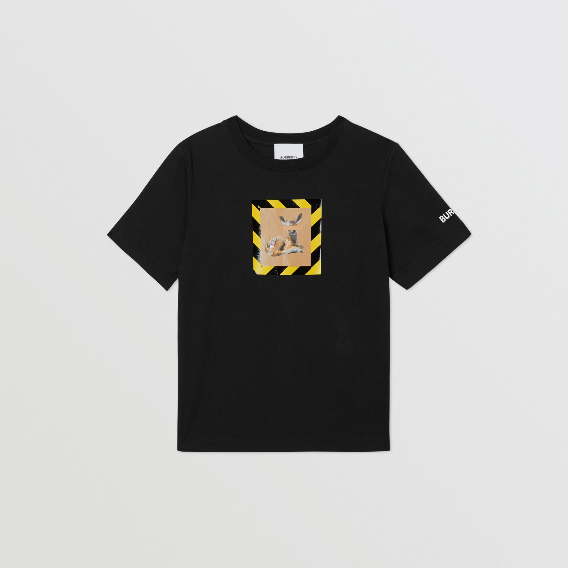 Deer Print Cotton T-shirt in Black   Burberry Australia - gallery image 0