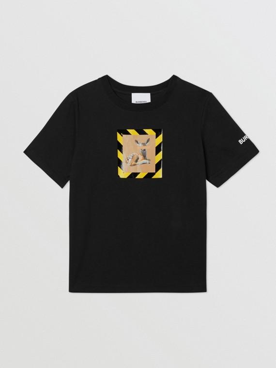 T-shirt en coton à imprimé daim (Noir)