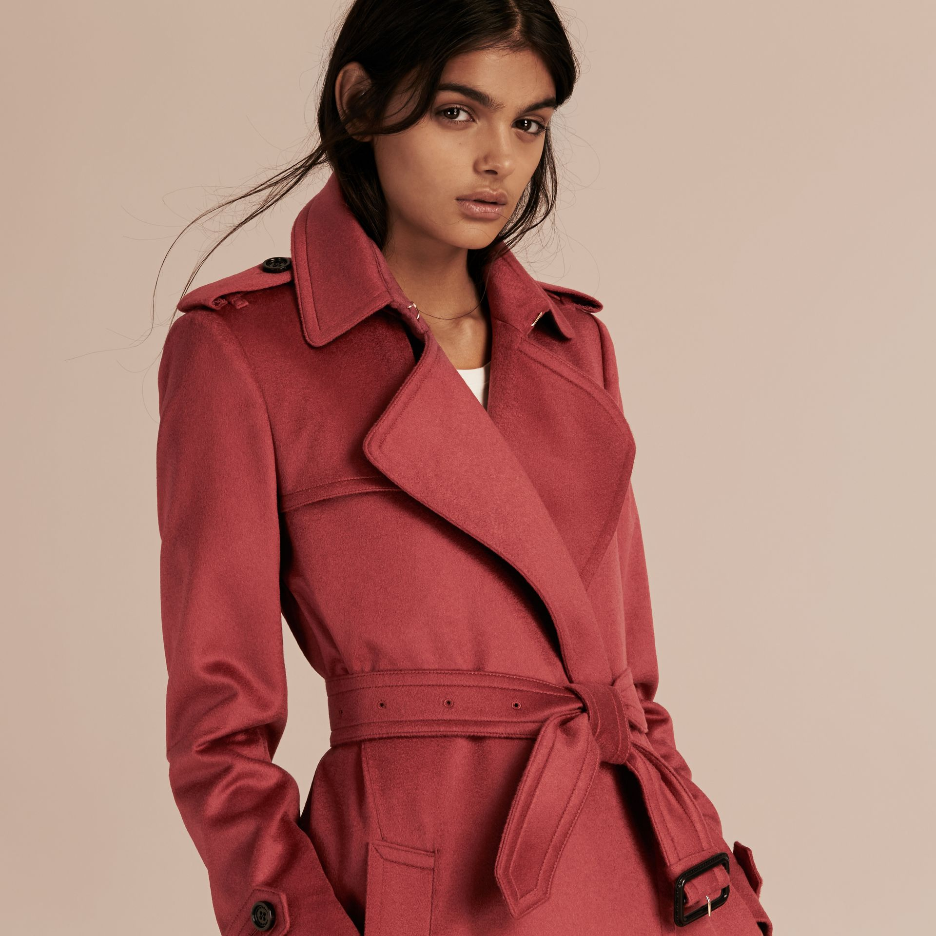 Dusty peony rose Cashmere Wrap Trench Coat Dusty Peony Rose - gallery image 5