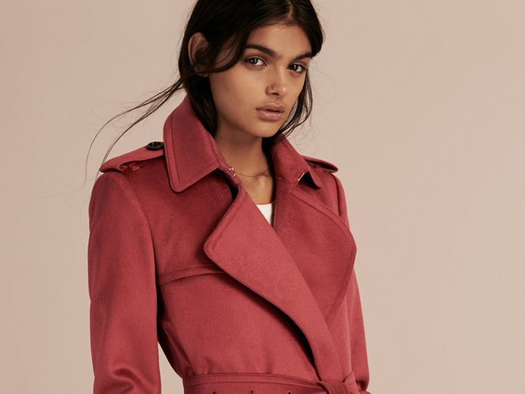 Rosa peonia polvere Trench coat a scialle in cashmere Rosa Peonia Polvere - cell image 4