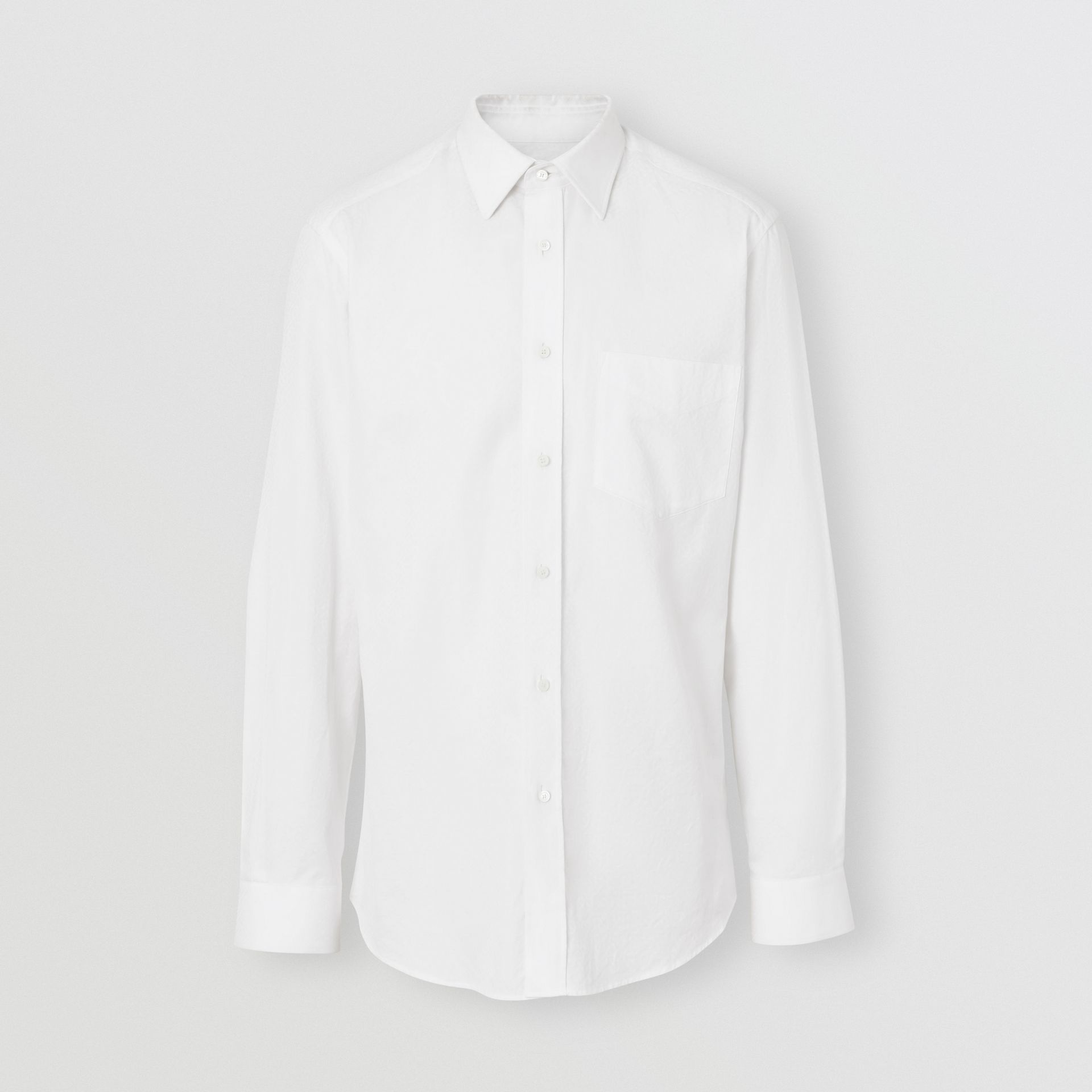 Classic Fit Monogram Cotton Jacquard Shirt in White - Men | Burberry - gallery image 3