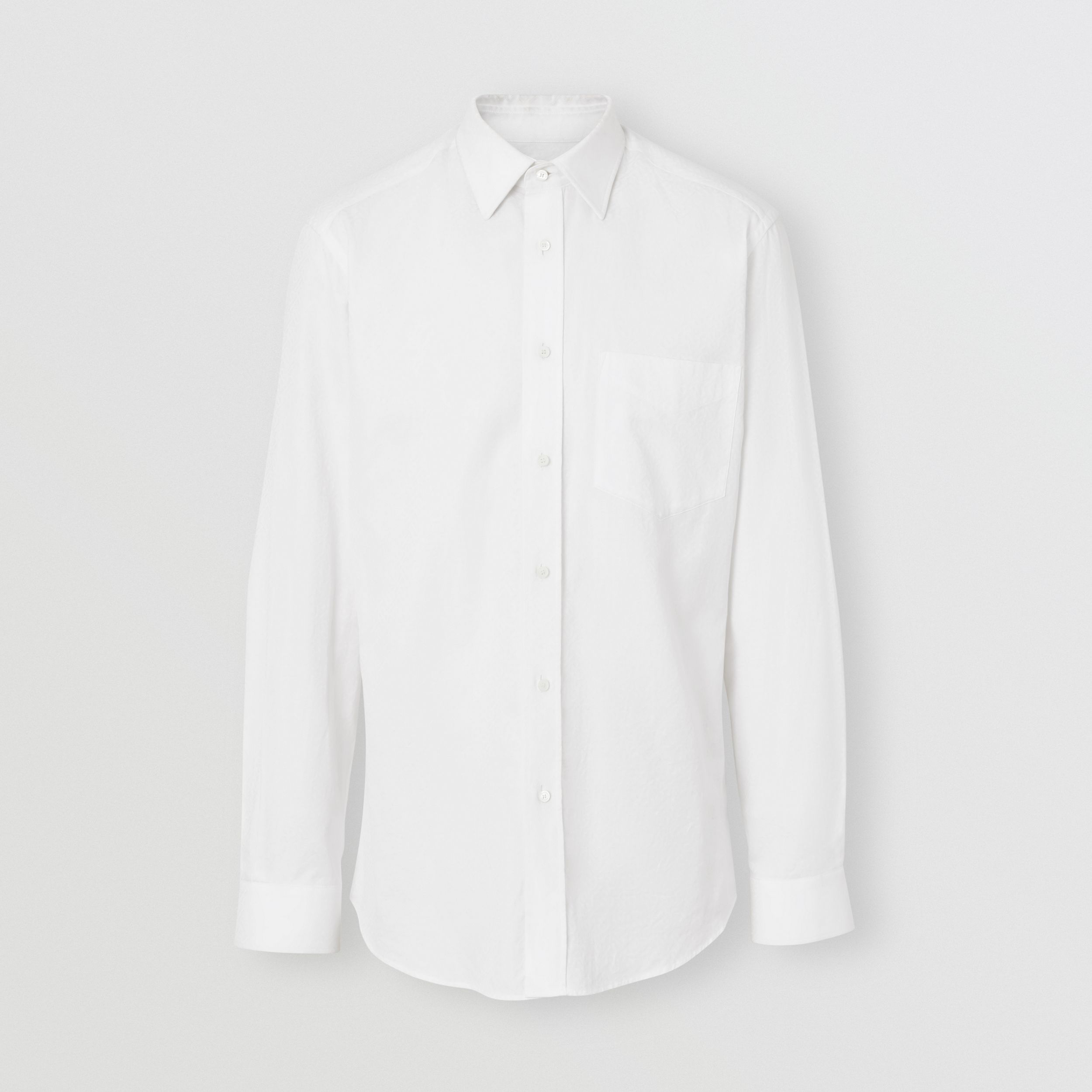 Classic Fit Monogram Cotton Jacquard Shirt in White | Burberry - 4