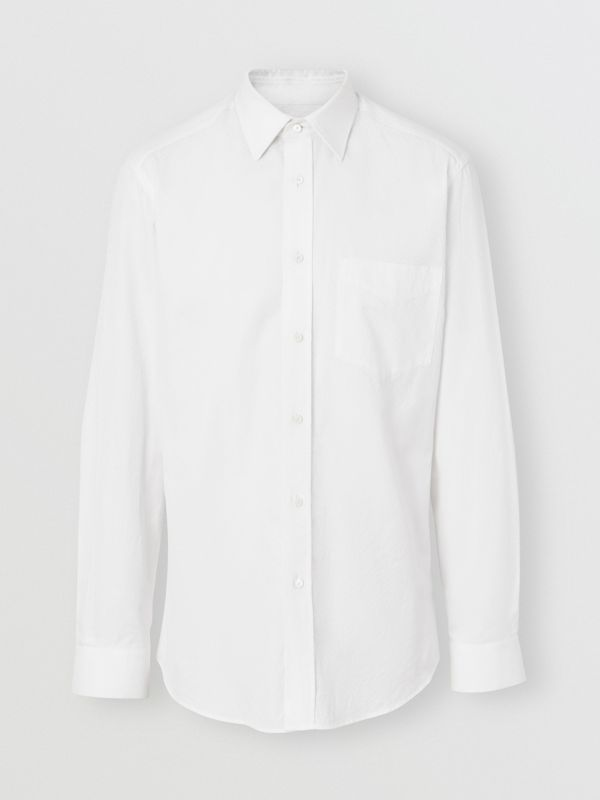 Classic Fit Monogram Cotton Jacquard Shirt in White - Men | Burberry - cell image 3