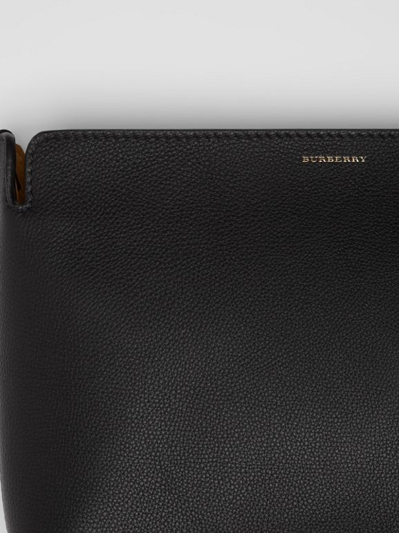 Medium Tri-tone Leather Clutch in Black/sea Green | Burberry United Kingdom - cell image 1