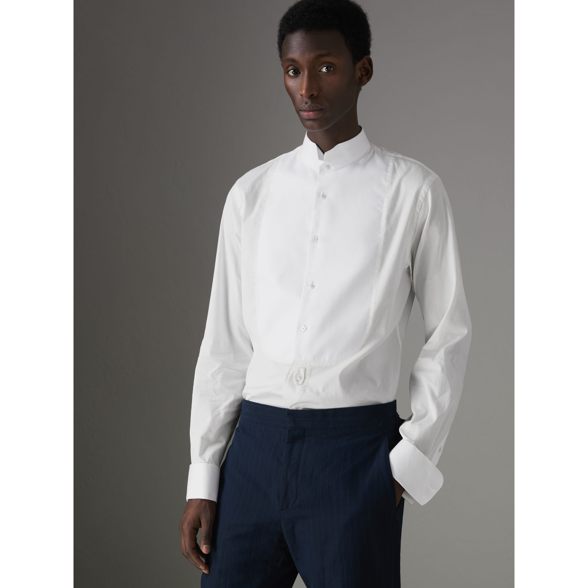 Modern Fit Panelled Bib Cotton Silk Evening Shirt in White - Men | Burberry United States - gallery image 5