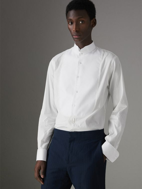 Modern Fit Panelled Bib Cotton Silk Evening Shirt in White