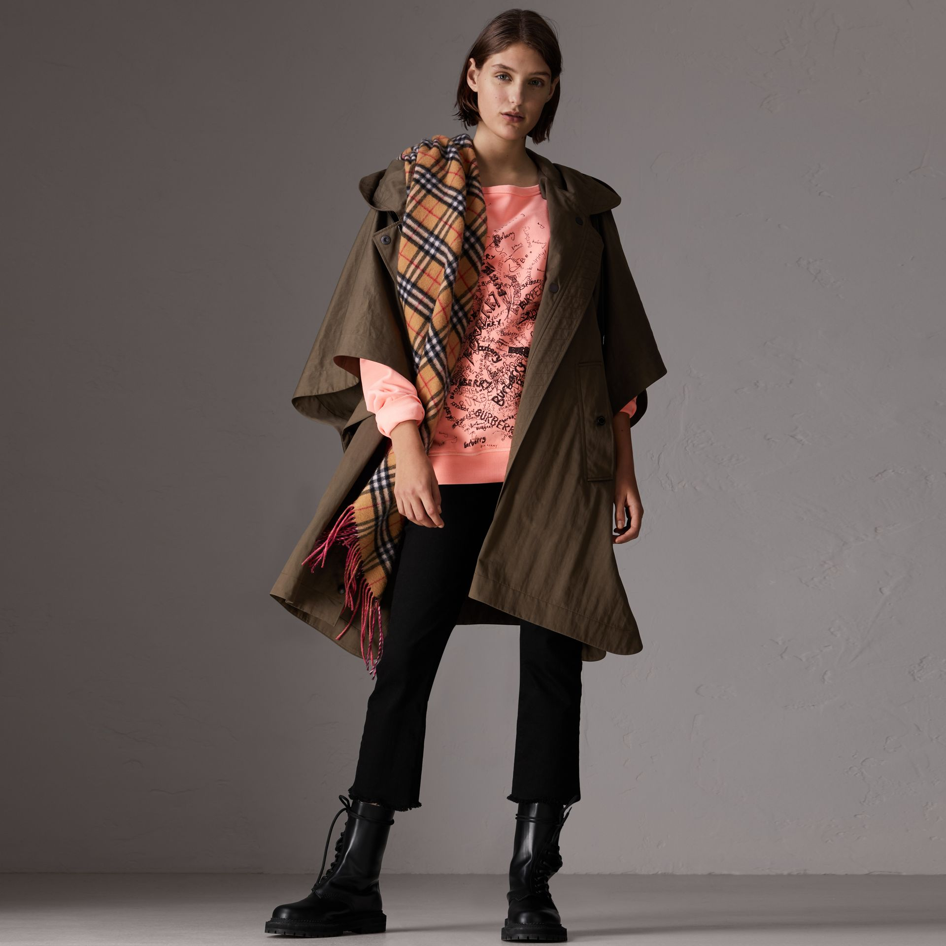 Showerproof Oversized Parka Cape in Dark Olive - Women | Burberry - gallery image 5