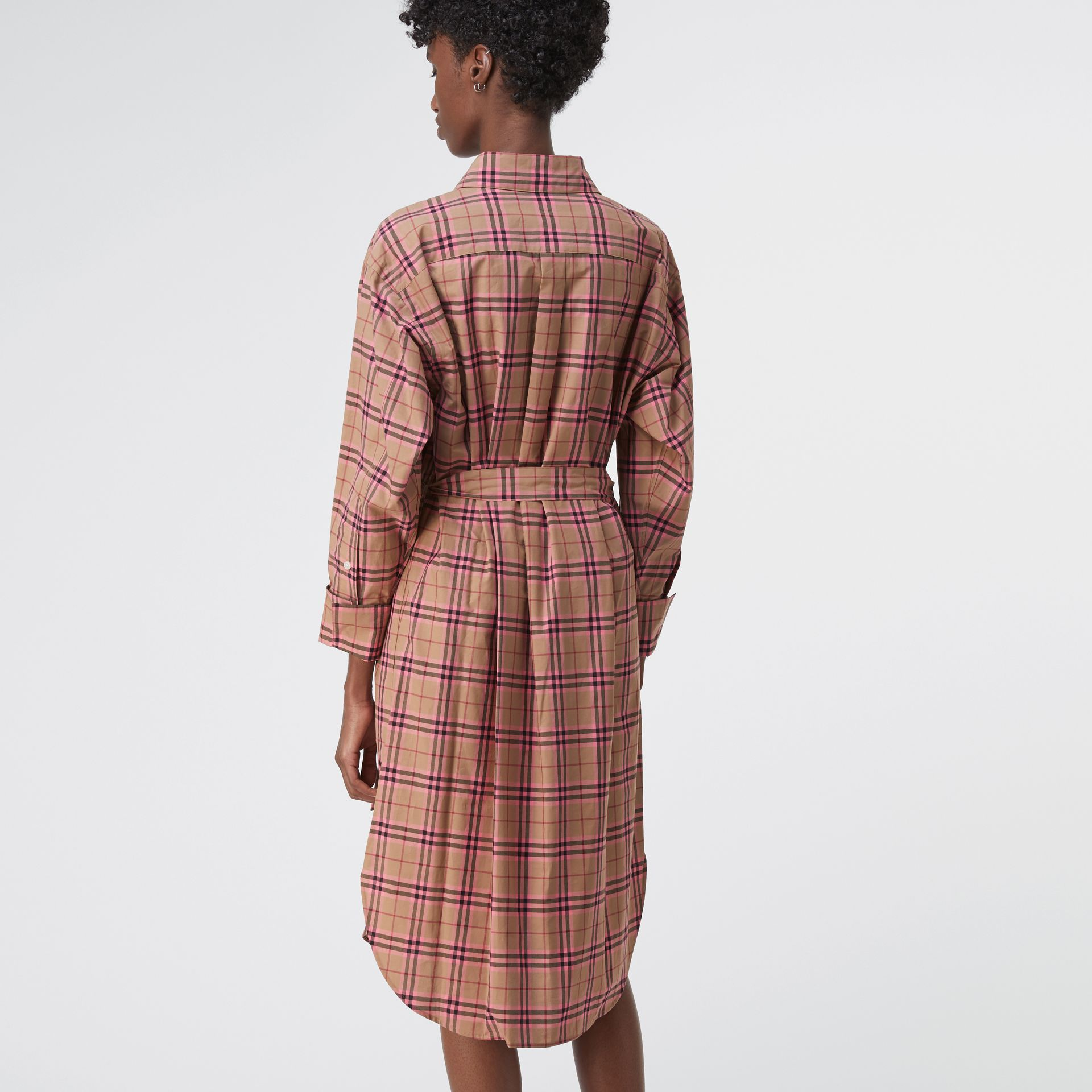 Check Cotton Shirt Dress in Pomegranate Pink - Women | Burberry United States - gallery image 2