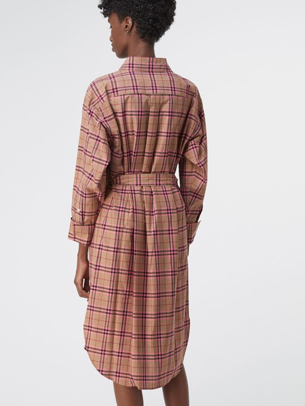 Check Cotton Shirt Dress in Pomegranate Pink - Women | Burberry - cell image 2